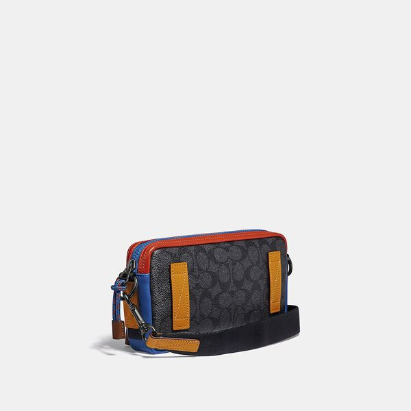Pacer Slim Pouch In Signature Canvas, CHARCOAL SIGNATURE MULTI, hi-res
