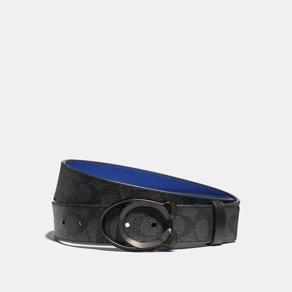 Signature Buckle Belt, 38Mm, CHARCOAL/DEEP SKY, hi-res
