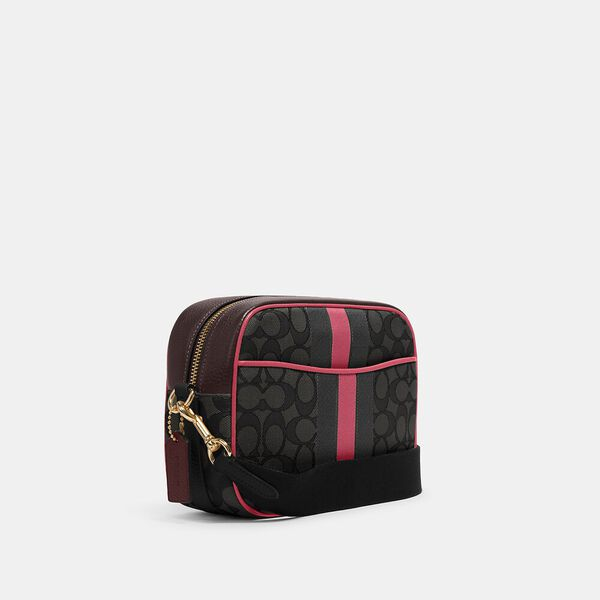 Dempsey Camera Bag In Signature Jacquard With Stripe And Coach Patch, IM/BLACK WINE MULTI, hi-res