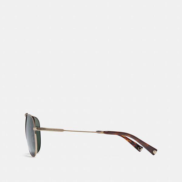Wire Frame Pilot Sunglasses, GREEN/GOLD, hi-res