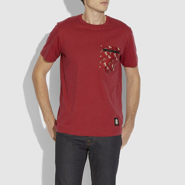 Lunar New Year Nylon Detail T-Shirt, RED, hi-res