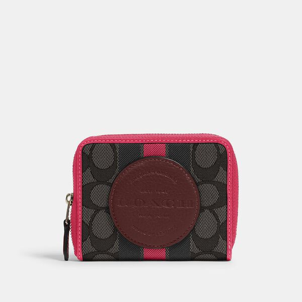 Dempsey Small Zip Around Wallet In Signature Jacquard With Stripe And Coach Patch, IM/BLACK WINE MULTI, hi-res