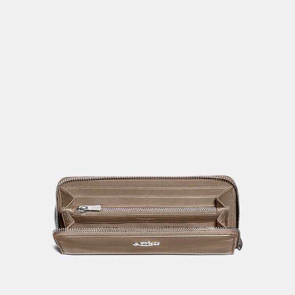 Slim Accordion Zip Wallet, LH/TAUPE, hi-res