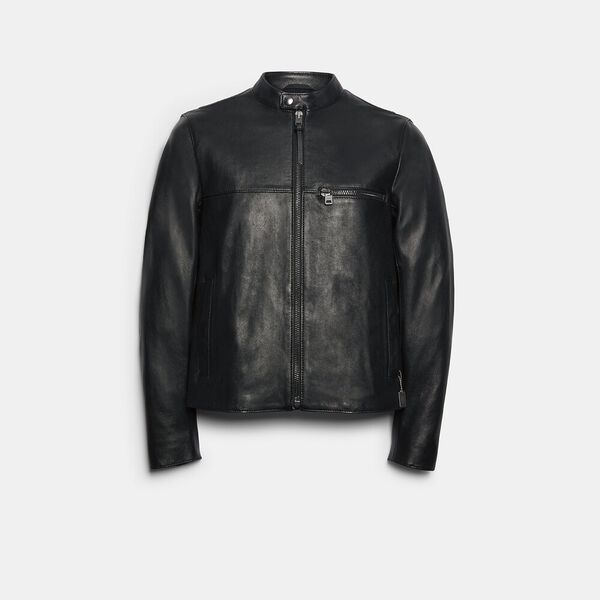 Leather Racer Jacket, BLACK, hi-res