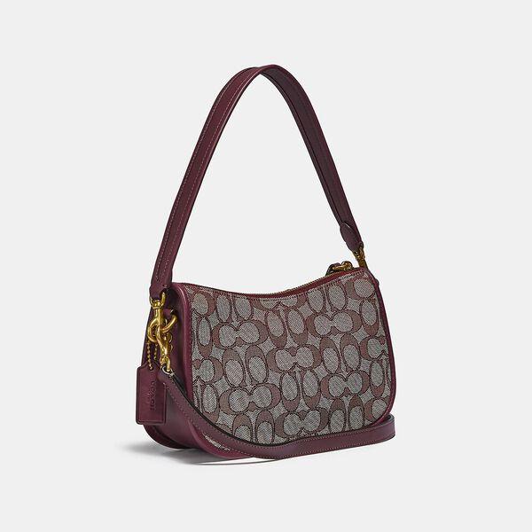 Swinger Bag In Signature Jacquard, B4/BURGUNDY BLK CHERRY, hi-res
