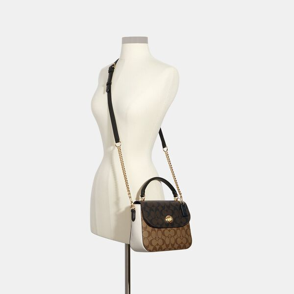 Marlie Top Handle Satchel In Blocked Signature Canvas, IM/KHAKI BROWN MULTI, hi-res