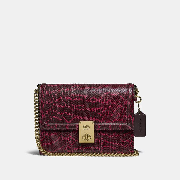 Hutton Shoulder Bag In Snakeskin, B4/CERISE, hi-res