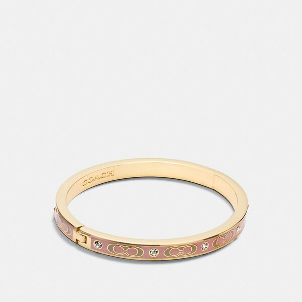 Signature Stone Hinged Bangle, GD/DUSTY ROSE, hi-res