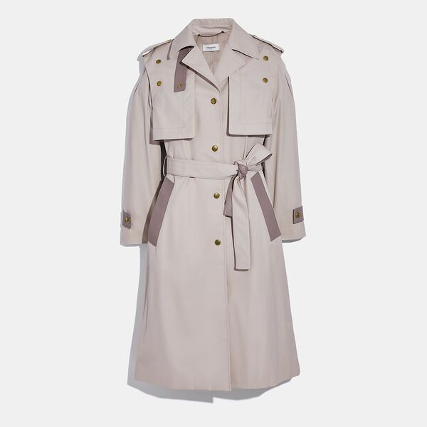 Cotton Trench With Leather Details
