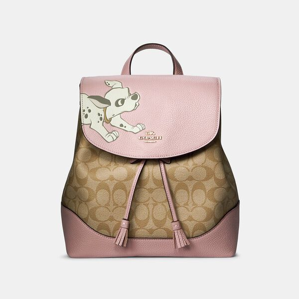 Disney X Coach Elle Backpack In Signature Canvas With Dalmatian