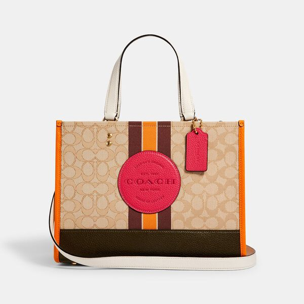 Dempsey Carryall In Signature Jacquard With Stripe And Coach Patch, IM/LT KHAKI ELECTRIC PINK, hi-res