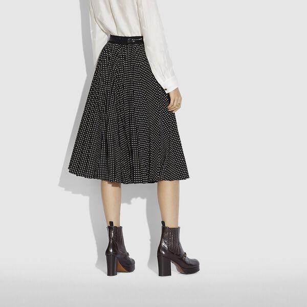 Micro Dot Pleated Skirt, BLACK, hi-res