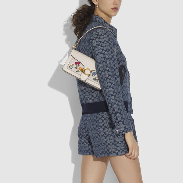 Tabby Shoulder Bag 26 In Signature Canvas With Floral Embroidery, B4/Chalk Chalk, hi-res