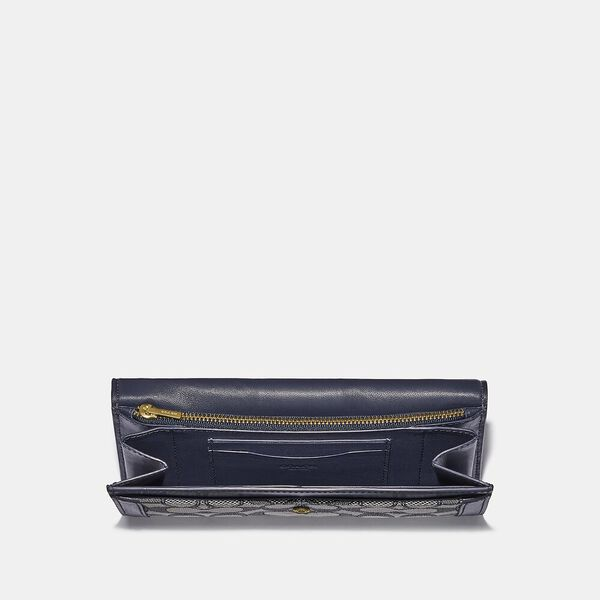 Alie Wallet In Signature Jacquard With Snakeskin Detail, B4/NAVY MIDNIGHT NAVY, hi-res