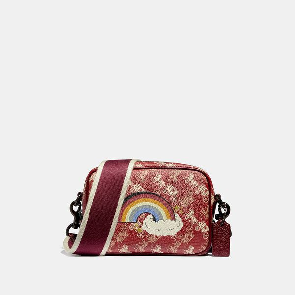 Camera Bag 16 With Horse And Carriage Print And Rainbow