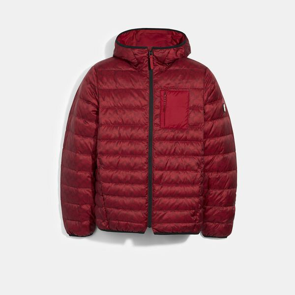 Packable Hooded Down Jacket, CHERRY SIGNATURE, hi-res