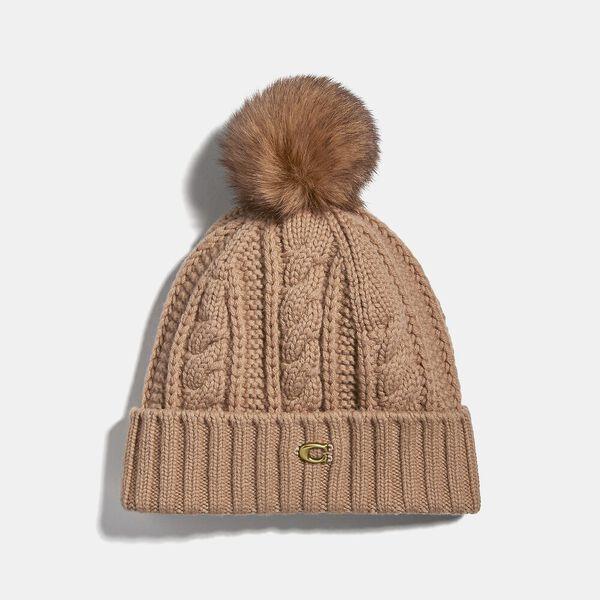 Knit Hat With Shearling Pom Pom