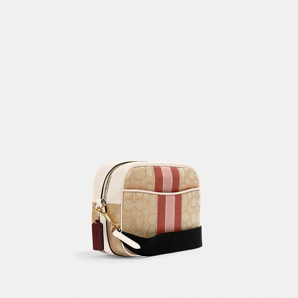 Dempsey Camera Bag In Signature Jacquard With Stripe And Coach Patch, IM/LT KHAKI VANILLA CREAM MULT, hi-res