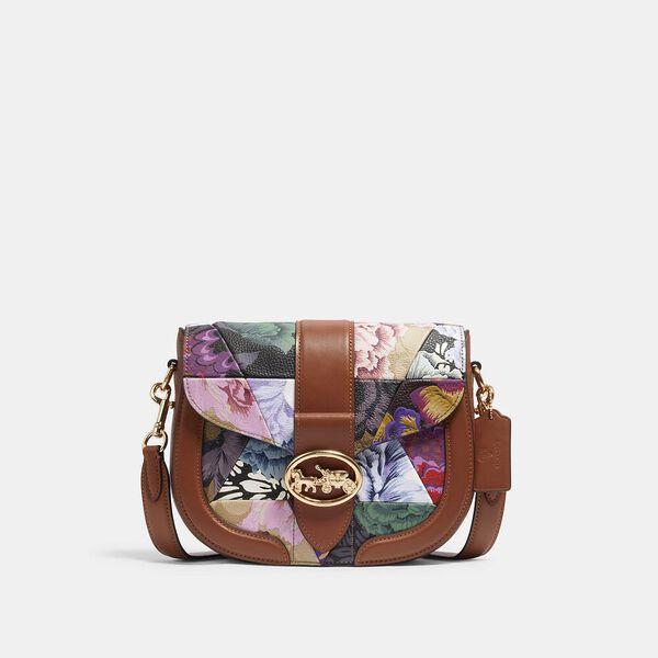 Georgie Saddle Bag With Patchwork Kaffe Fassett Print