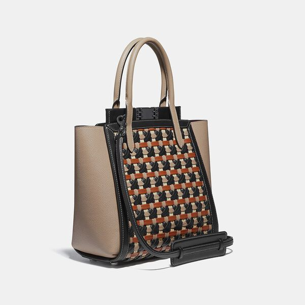 Troupe Tote With Weaving, V5/BLACK MULTI, hi-res