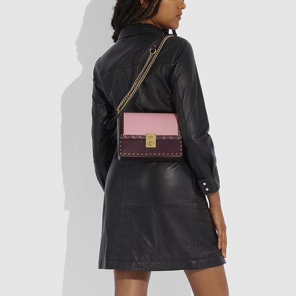 Coach X Jennifer Lopez Hutton Shoulder Bag In Colorblock With Snakeskin Detail, B4/PEONY OXBLOOD MULTI, hi-res
