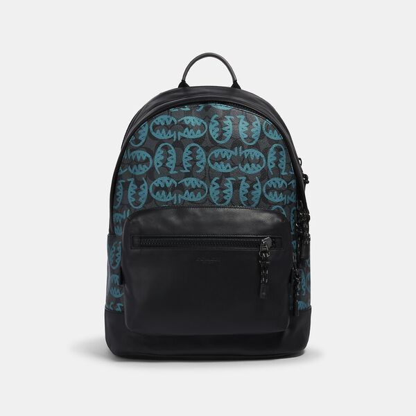 West Backpack In Signature Canvas With Rexy By Guang Yu, QB/GRAPHITE BLUE GREEN, hi-res