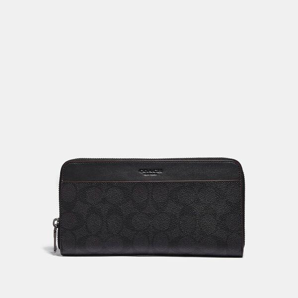 Travel Wallet In Signature Canvas, BLACK/BLACK/OXBLOOD, hi-res