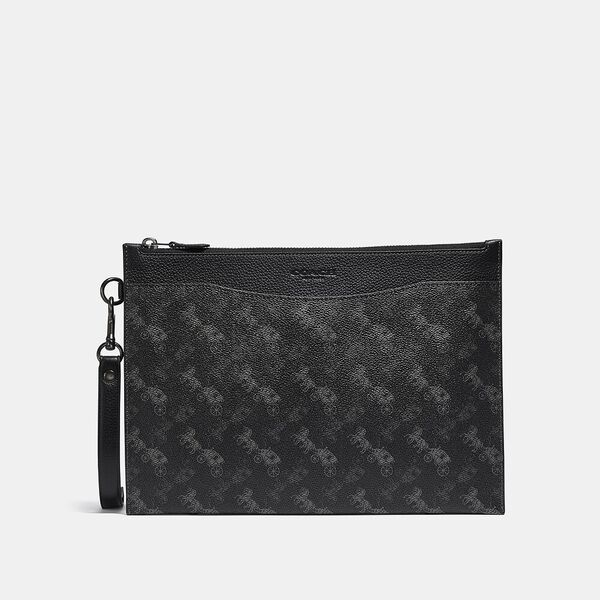 Hitch Pouch With Horse And Carriage Print, CHARCOAL, hi-res