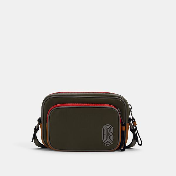 Mini Edge Double Pouch Crossbody In Colorblock With Coach Patch, QB/OLIVE DRAB MULTI, hi-res