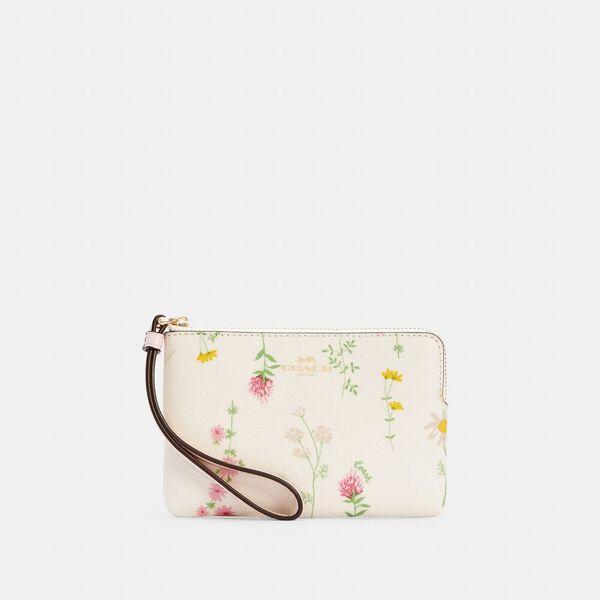 Corner Zip Wristlet With Spaced Wildflower Print, IM/CHALK MULTI, hi-res