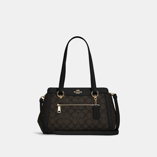 Kailey Carryall In Signature Canvas, IM/BROWN BLACK, hi-res