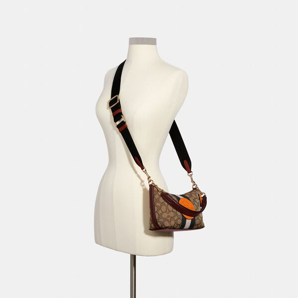 Dempsey Shoulder Bag In Signature Jacquard With Stripe And Patch, IM/KHAKI SUNBEAM MULTI, hi-res