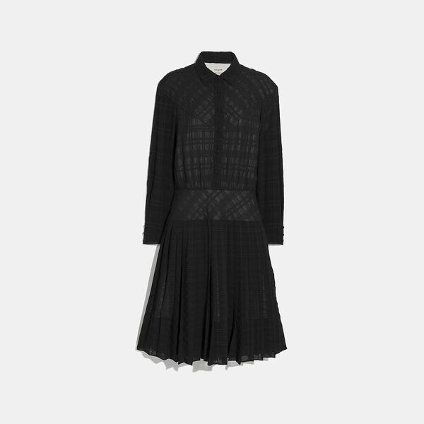 Plaid Pleated Shirt Dress