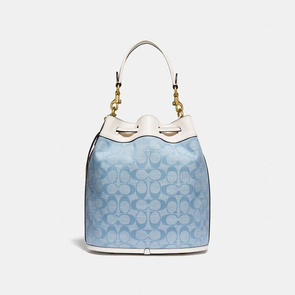 Field Bucket Bag In Signature Chambray, B4/LIGHT WASHED DENIM CHALK, hi-res