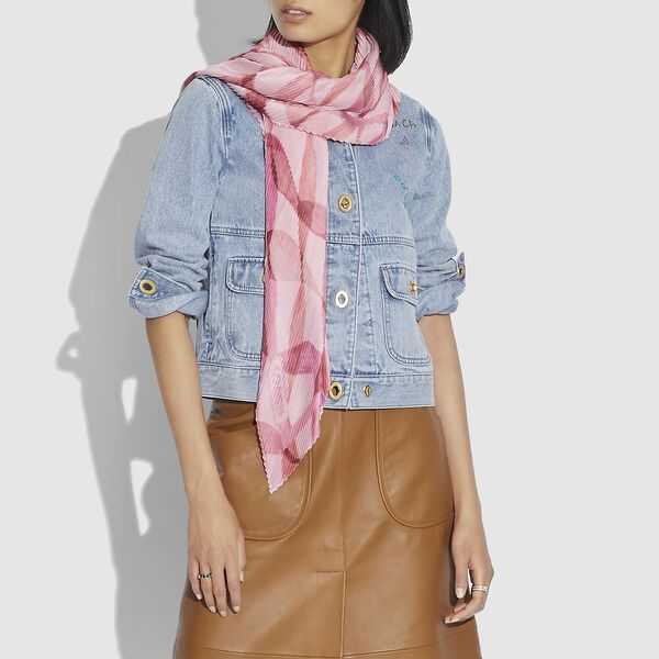 Pleated Dreamy Ribbon Print Oversized Diamond Scarf, PINK/CORAL, hi-res