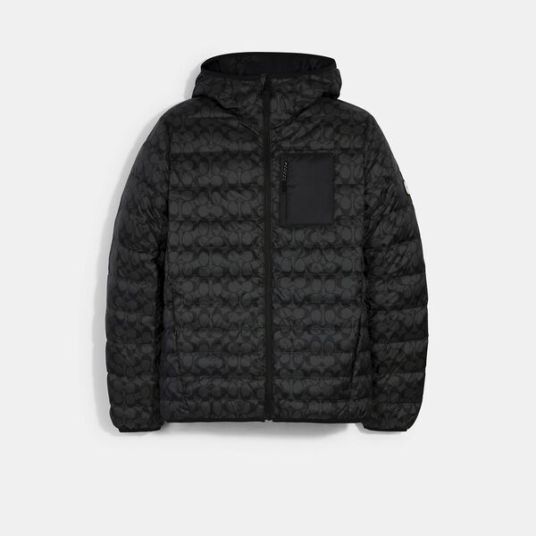 Packable Hooded Down Jacket, BLACK SIGNATURE, hi-res