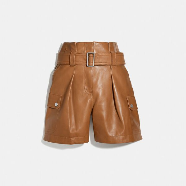 Leather Belted Shorts, PENNY, hi-res