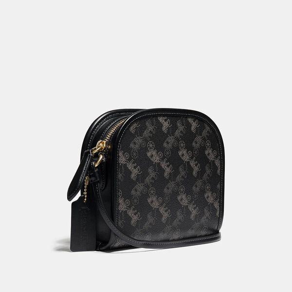 Zip Crossbody With Horse And Carriage Print, Ol/Black, hi-res
