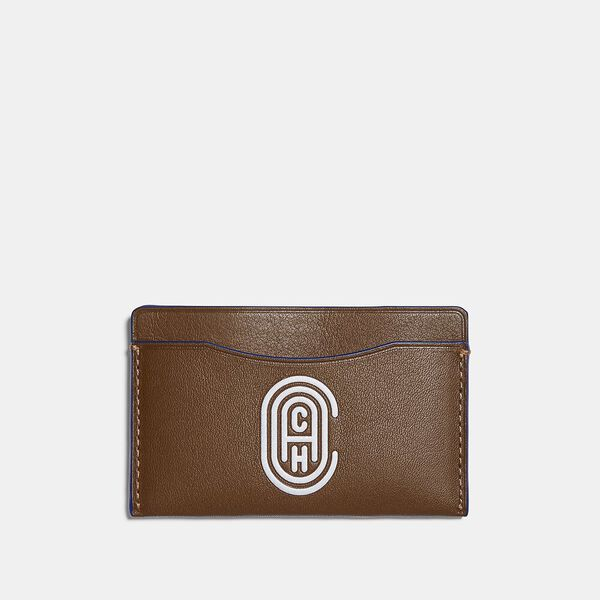 Small Card Case With Coach Patch, SADDLE/SPORT BLUE, hi-res
