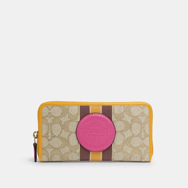 Dempsey Accordion Zip Wallet In Signature Jacquard With Stripe And Coach Patch, IM/LT KHAKI ELECTRIC PINK, hi-res