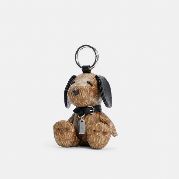 Coach X Peanuts Snoopy Collectible Bag Charm In Signature Canvas, SV/KHAKI, hi-res