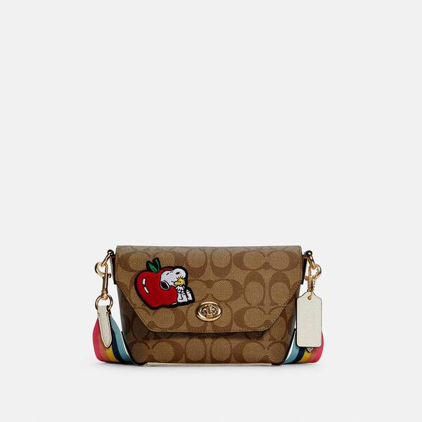 Coach X Peanuts Karlee Crossbody In Signature Canvas With Snoopy