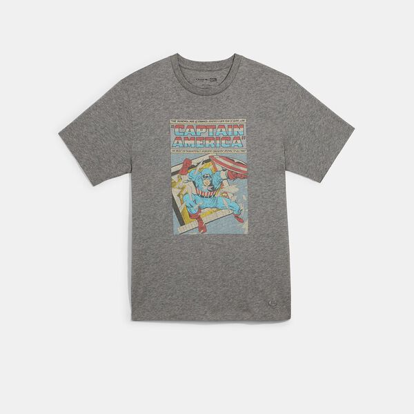 Coach x Marvel Captain America Comic T-Shirt, HEATHER GREY, hi-res