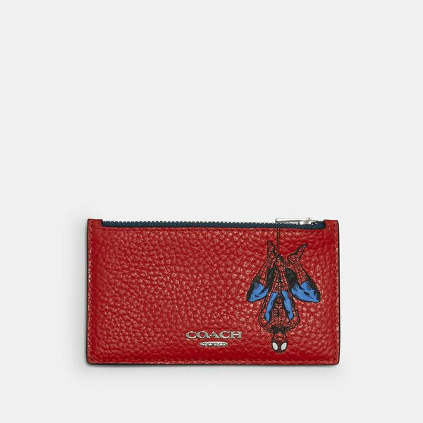 Coach x Marvel Zip Card Case With Spider-Man, SV/MIAMI RED, hi-res