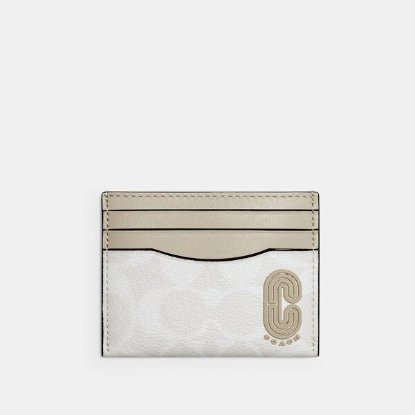 Slim Card Case In Signature Canvas With Coach Patch, QB/CHALK STEAM, hi-res
