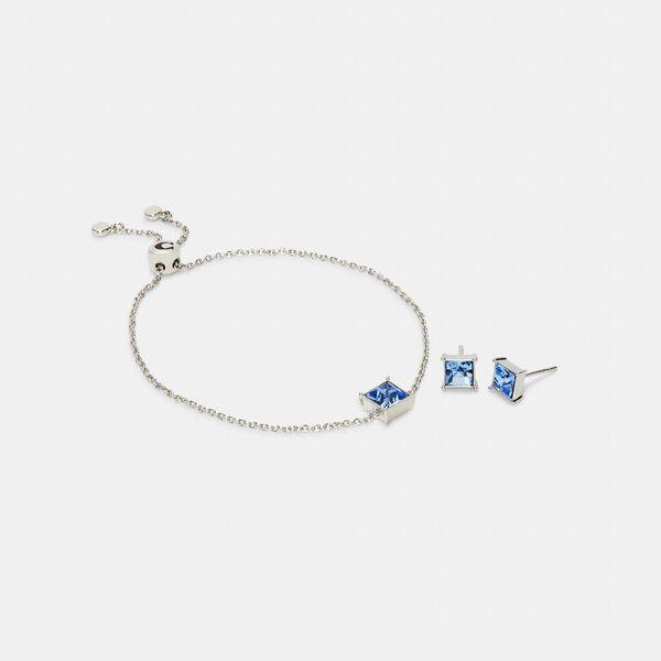 Square Crystal Stud Bracelet And Earrings Set, SV/BLUE, hi-res