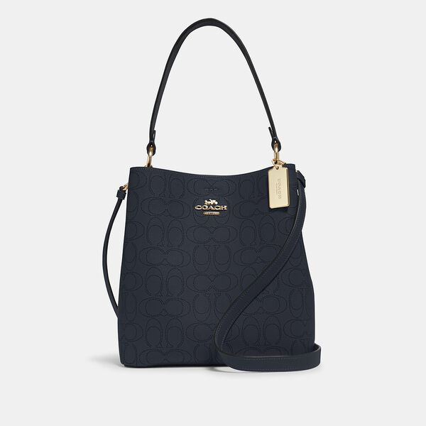 Town Bucket Bag In Signature Leather, IM/MIDNIGHT/ROSE, hi-res