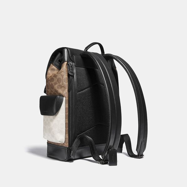 Rivington Backpack In Colorblock Signature Canvas, JI/CHARCOAL MULTI, hi-res
