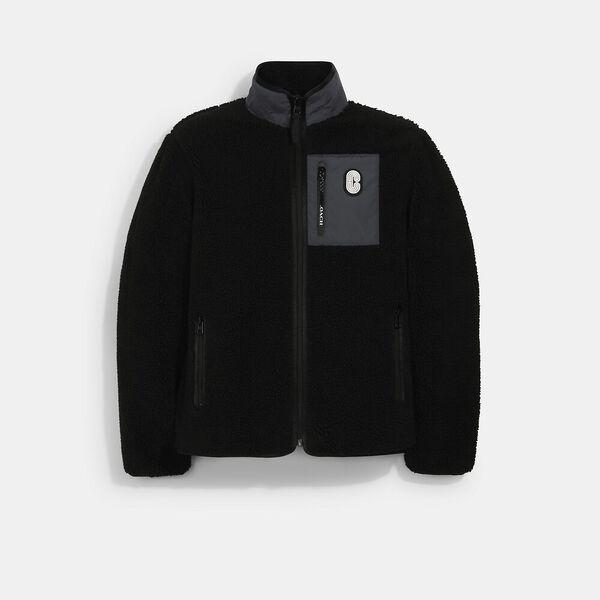 Sherpa Fleece Jacket, BLACK, hi-res
