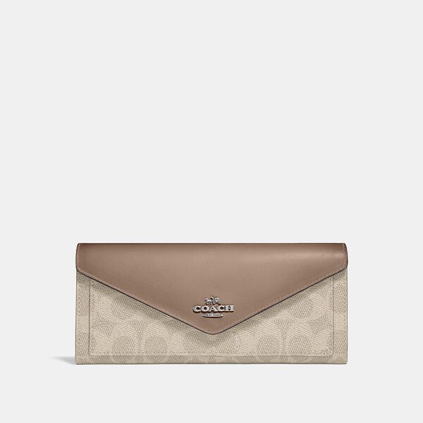 Soft Wallet In Colorblock Signature Canvas, LH/SAND TAUPE, hi-res